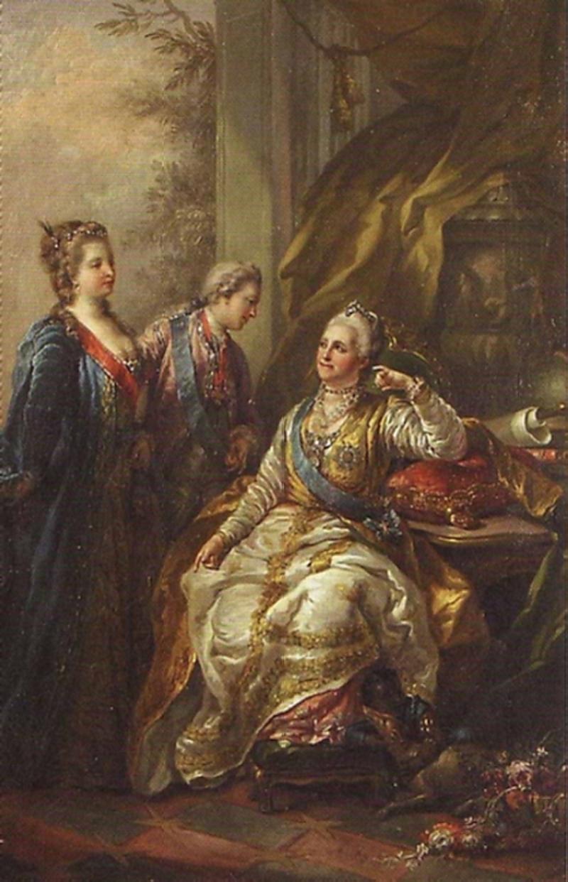 Павел Петрович представляет Екатерине II свою невесту. <br>