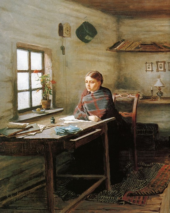 Сельская учительница. Картина Константина Трутовского.